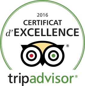 Certificat d'Excellence sur Tripadvisor